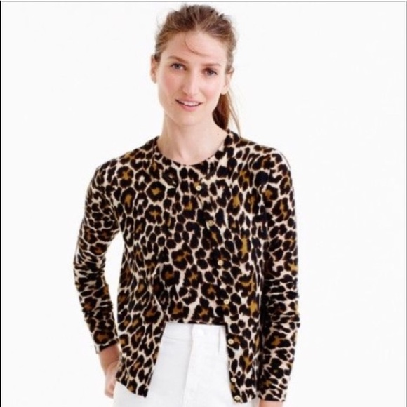 d5f4ae471c0d J. Crew Sweaters - J Crew Lightweight wool Jackie cardigan in leopard